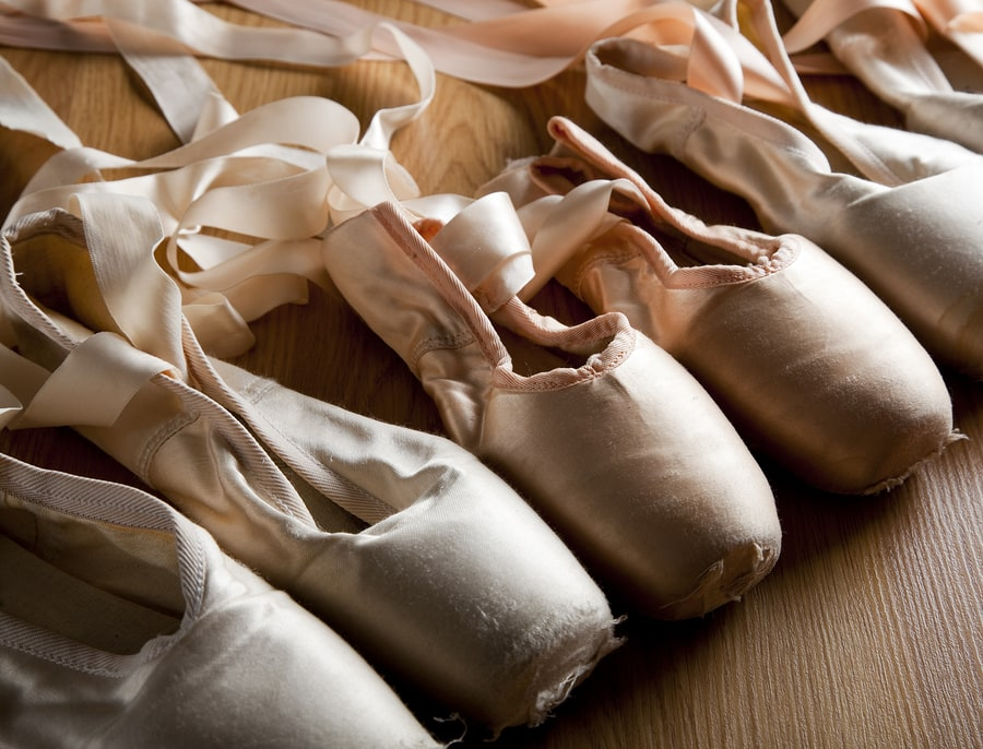 A few pairs of ballet pointe shoes