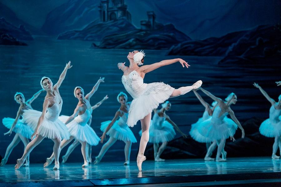 Ballerina performing swan lake