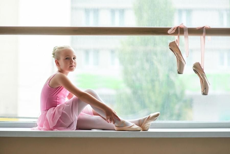 Young ballerina at a ballet school