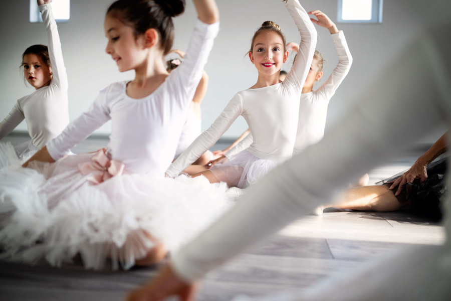 Young girls during ballet classes for kids